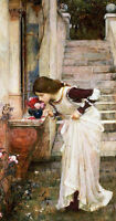 Stunning Oil painting portraits nice young girl smell the roses flowers canvas
