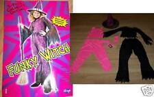 Girl's Size Small 4-6 Funky Witch 5 Piece Halloween Costume Black Neon Pink New