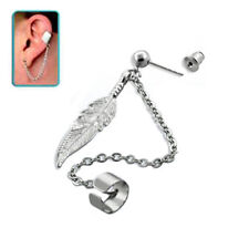 925 Sterling Silver Slave Earring Ear Cartilage Helix Cuff Feather Chain 20G