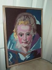 Woman Lady Portrait Vintage Framed Needlepoint Art