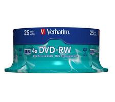 Verbatim 43639 25 TUB DVD-RW Blank Re-Writable Discs 25 Pack