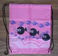 PINK FISH WATERPROOF PE SCHOOL DRAWSTRING BACKPACK SHOULDER  SPORTS BAG