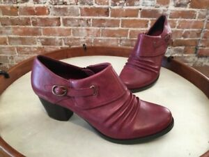 PureSole Red Wine Leather Ruched Riley Shootie Pump 9 NEW