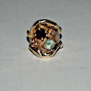 Charles Duncan Designer Sterling Silver Ring & Amethyst & Aqua Marine 14KYG Trim