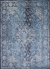 "Navy Blue Transitional 5x7 Area Rug Bordered Flower Carpet - Actual 5'3"" x 7'2"""
