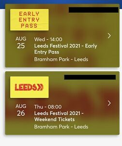 1x Leeds festival weekend ticket 2021 inc. camping And Early Entry.