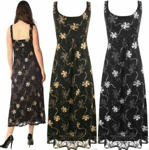 Womens Plus Size Floral Foil Glitter Sleeveless Dress Ladies Flared Maxi Dress