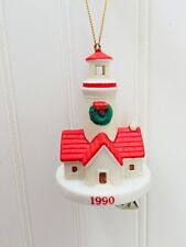 Vintage Lighthouse Ornament Christmas 1990 Tree Porcelain Clip Light House 23199