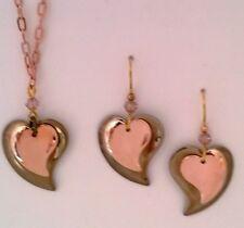 SILVER FOREST HEART EARRING NECKLACE SET GOLDTONE COPPERTONE DANGLE HOOK