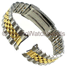 18mm Hadley Roma Curved/Straight Two-Tone Stainless Mens Safety Clasp Band 5697