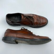 Mens Oxford Dress Shoes Brown Lace Up Wingtip Round Toe Leather Brogues 9.5 D