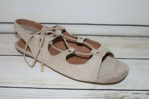 Witchery Brand Sand Suede Leather Lace Up Flats Size 38 NEW