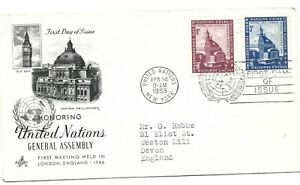 1958 - United nations - First day Cover - Honoring UN General Assembly