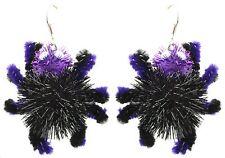 Zest Sparkly 3D Spider Halloween Earrings - Pierced Ears Black & Purple