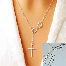 Fashion Silver Jewelry Charm Long Infinity Cross Pendants Necklace Choker