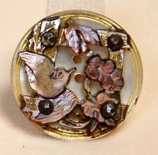 New listing Antique Button Small Compound Carved Pearl Shell Bird w Cut Steels Nice! H