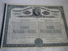 Vintage share certificate Stock Bonds actions Ferrocarriles nacionales de Mexico