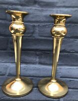 Vintage Pair Colonial Brass Mantle Candlesticks Candle Holders Cottage Core