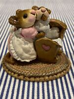 Wee Forest Folk M-069 Beddy-Bye Mousey Pink Mommy Blue Baby 1982