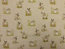 Mini Hares Natural Linen Look Designer Curtain Craft Upholstery Fabric