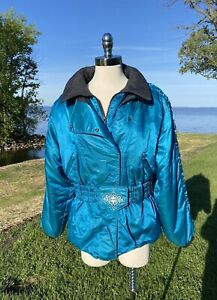 Vtg POLARIS Teal Snowmobile Jacket Thermoloft Insulated Womens Large COOL Belt!