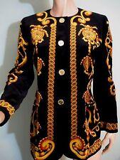 Vintage Escada Margaretha Ley Jacket Black Gold Velvet Germany Small/Med
