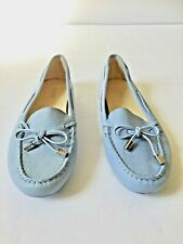 Michael Kors Daisy Moccasins Light Blue Leather Loafer/Flat with Bow Size 6.5 M