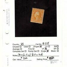 US 338 10c Washington Mint VF OG H SCV $67.50