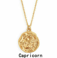 New Zodiac Stainless Steel Pendant Gold Chain Constellation Zirconia Necklace