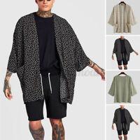Mens Japanese Kimono Jacket Coat Loose Cardigan Outwear Top Yukata T Shirt Cape