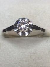 solitaire or blanc diamant 0.35 carats taille 53,5