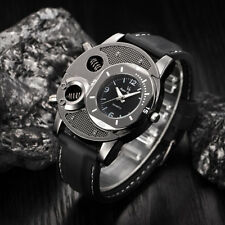 Men's Fashion Big Dial Sports Military Leather Band Analog Quartz Watch