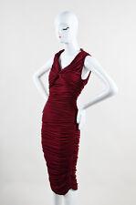 "Lanvin NWT $2760 Burgundy Red ""Raisin"" Stretch Knit Long SL Draped Dress SZ 38"