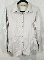 Wrangler Women's Large Silver Western Rhinestone Snap Long Sleeve Shirt Accents