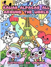 Kawaii Alpacas Around World Adult Colouring Book Cute Whimsical Japanese Anime