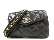 Auth CHANEL Quilted CC Chain Belt Waist Bum Bag Black Leather