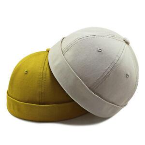 New Big Oversize Brimless Cap Skullcap Rolled Cuff No Visor Beanie Docker Hat