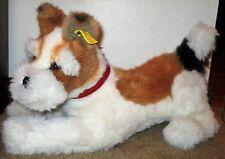 """Rare Vtg Steiff Plush Fox Terrier Dog Playful Glass Eyes Red Collar 16"""" Vgc"""