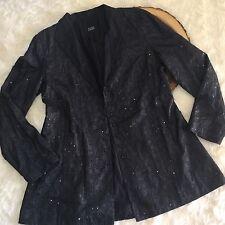 EILEEN FISHER Sequin Embroider Slate Gray Evening Silk Jacket Blazer Long Sleeve
