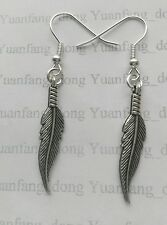 A Pair of Tibetan Silver Native American Indian Tribe Feather Leaves Earrings