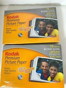 2 Packs of 75-  Kodak Premium Picture Paper 4 x 6 High Gloss