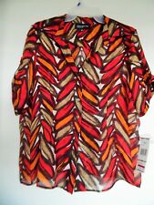 Jones New York Sorrento Multi Button Front Linen Silk  Blouse Shirt Top Sz 12