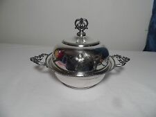 Vintage Beacon Silver Company Round Serving Bowl w/Lid Flower Engraved
