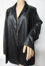 Travelers Black Faux Leather Jacket Collar Open Front Acetate Cardigan Size 3