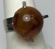 Vintage Finland Sterling Ring/Amber E.F. Ranit Co. Modernist (S76)