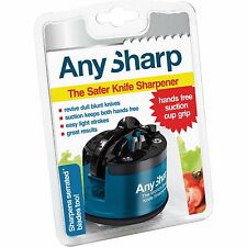 ANY SHARP Knife Sharpener BLUE PLASTIC Suction Grip Keep Hands Safe World BEST