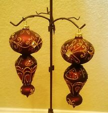 """Bombay Company Glittered Glass Christmas Ornaments Blown 8"""" set of Two"""