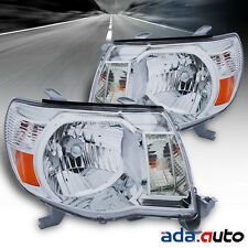 For 2005 -2011 Toyota Tacoma [TRD Style] Chrome Amber Headlights Left Right Pair