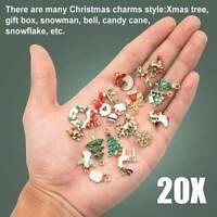 Bulk 20Pcs Enamel Mixed Christmas Pendant Jewelry DIY Craft Making Accessories~