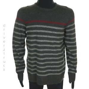 URBAN PIPELINE Young Men's LARGE Charcoal GRAY STRIPE SWEATER Grey & Burgundy